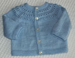 Eyelet Yoke Baby Cardigan Sweater